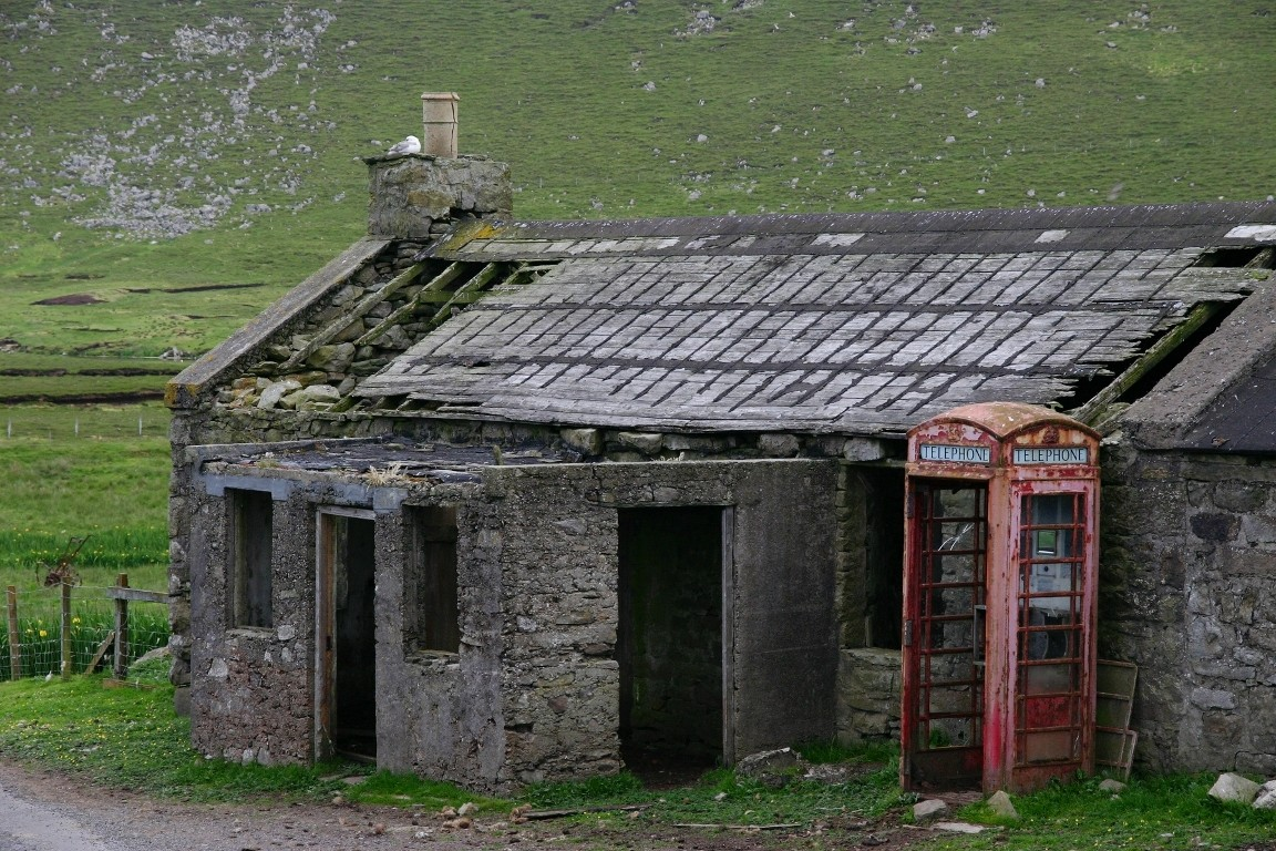 Derelict House And Phone Box, Foula