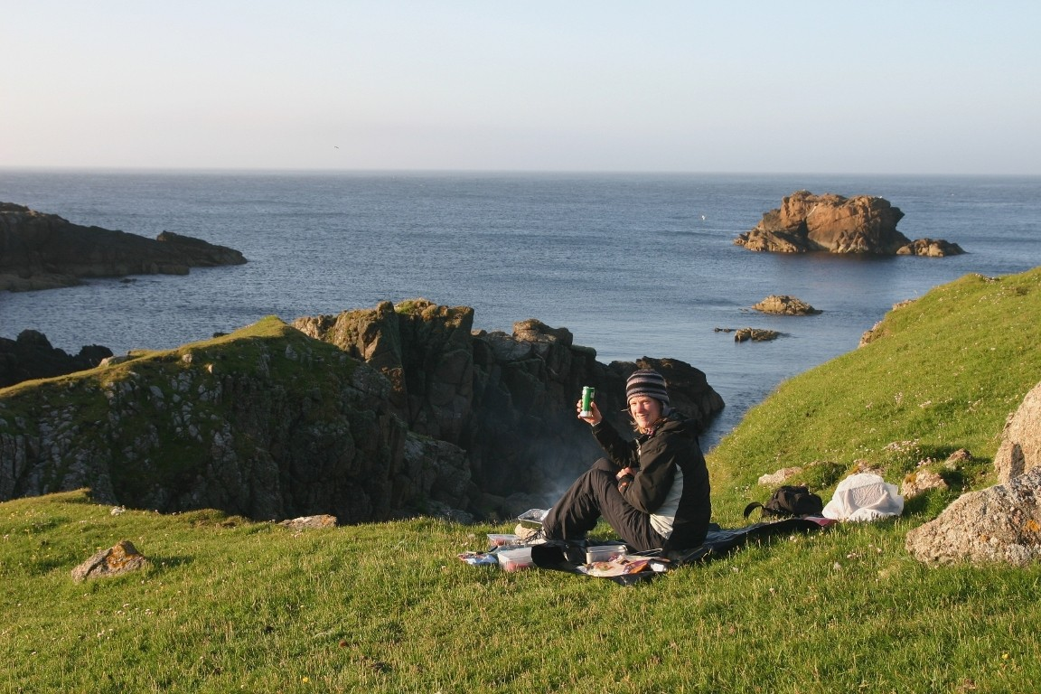 Debbie Enjoying Our Northernmost Barbecue, RAF Skaw, Unst