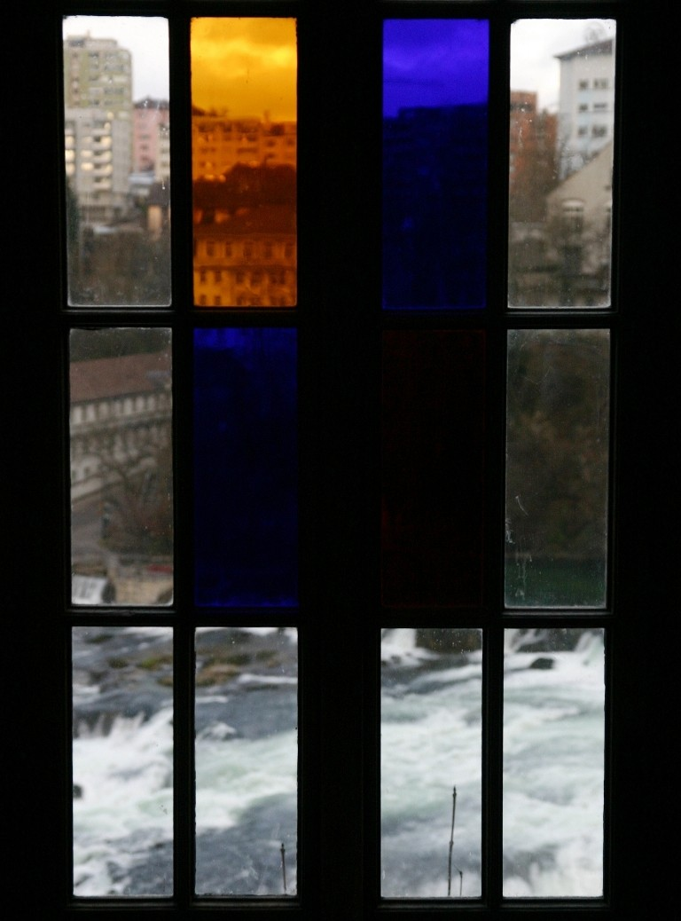 Rheinfall Through Stained Glass Window, Neuhausen, Near Schaffhausen