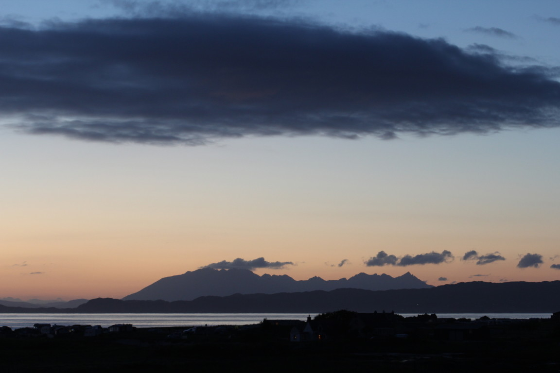 Sunset from Cottage, Back of Keppoch, Cuillins in Background