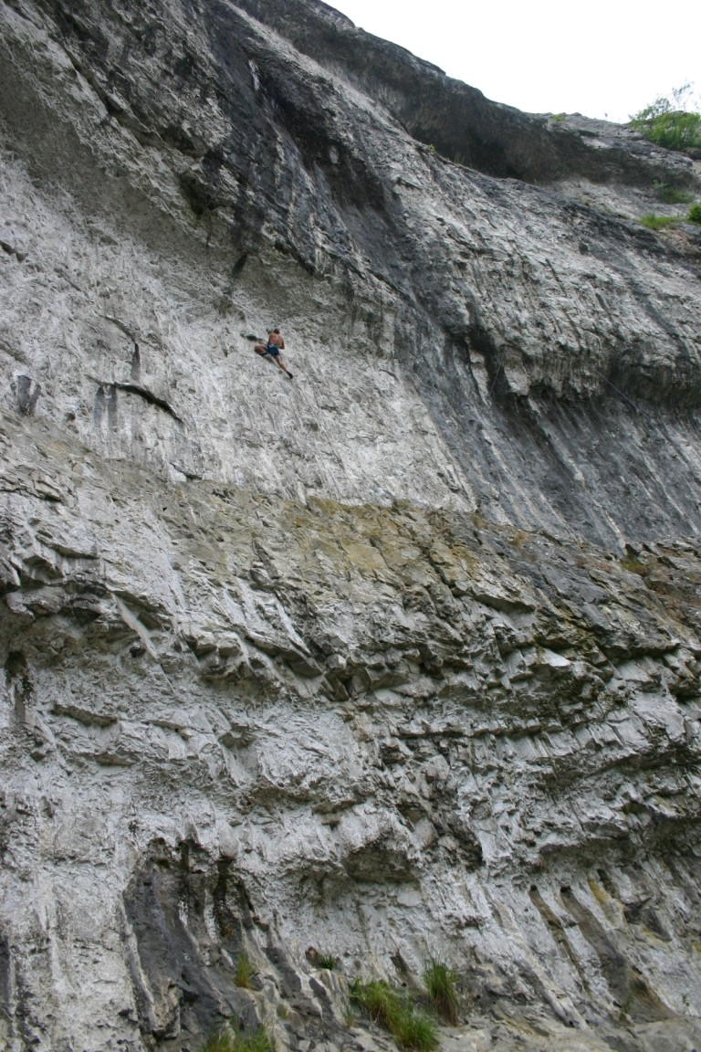 Climber On Malham Cove