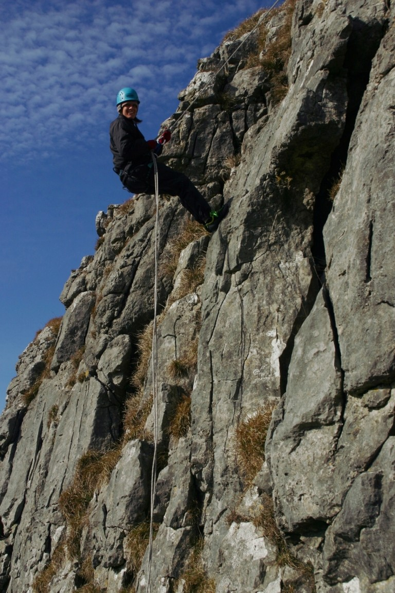Jane Abseiling And Grinning Madly, Attermire Scar