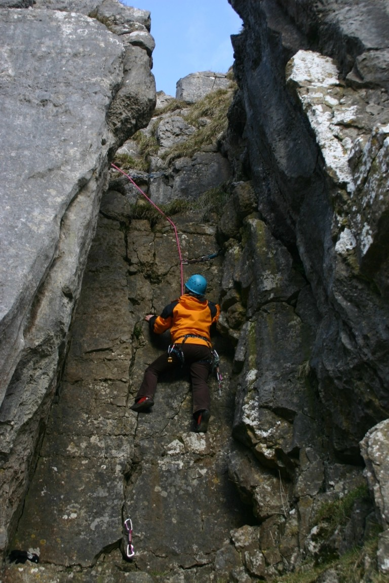 Nic Being Belayed Up A Chimney, Attermire Scar
