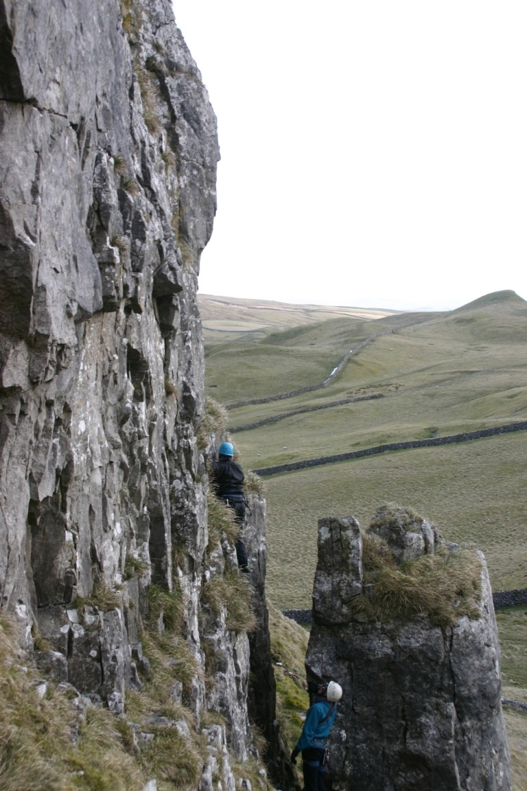 Jane Being Belayed Up A Frightening Cliff, Harold, Attermire Scar