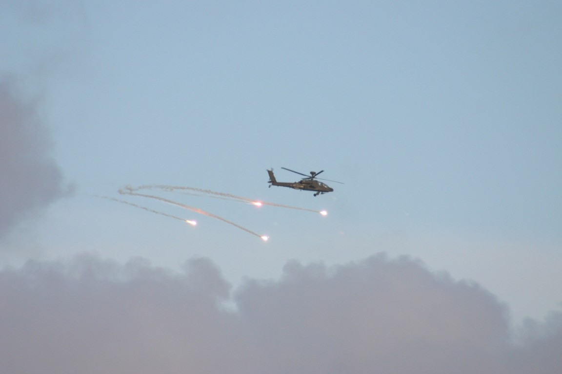 Apache Helicopter Dropping Flares