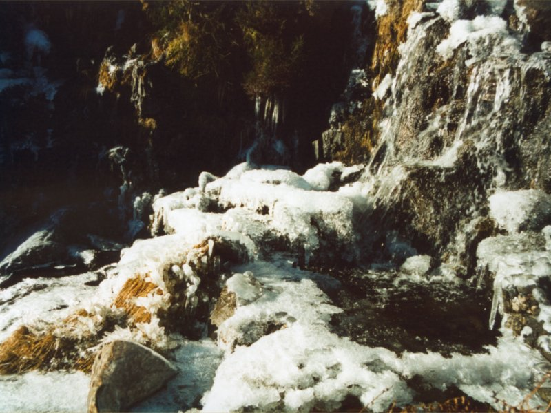 On way to Helvellyn from Sykeside - frozen stream and waterfall