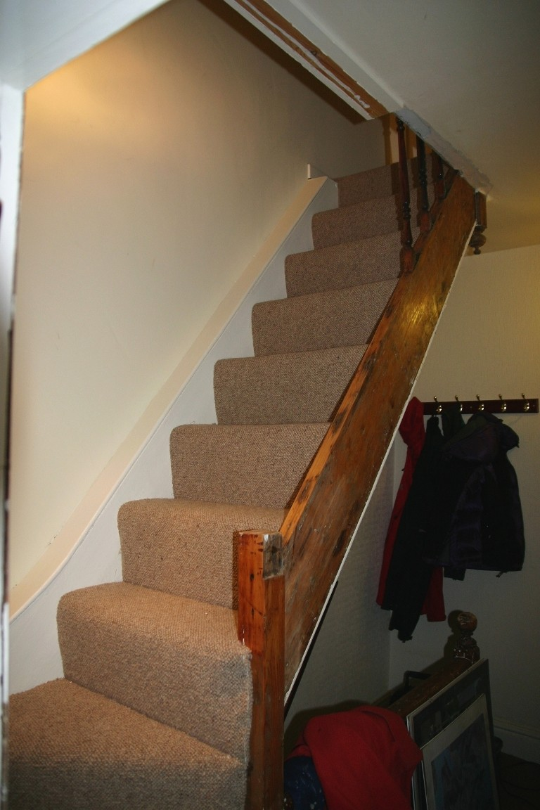 Carpeted Stairs, Messy Side Panel Removed