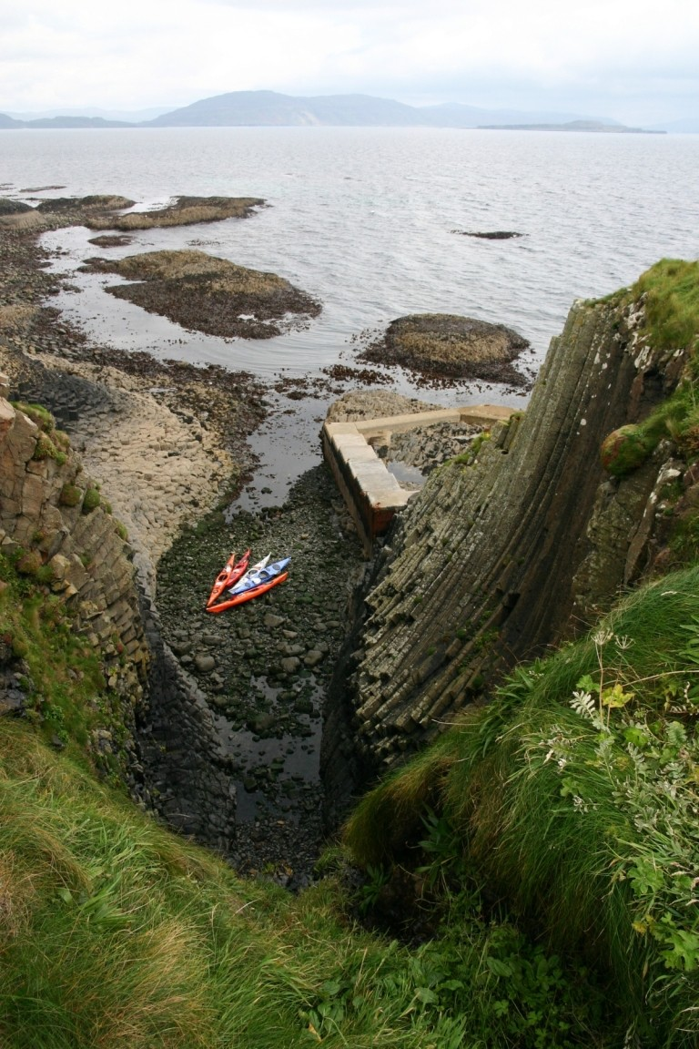 Kayaks In Clamshell Cave, Staffa