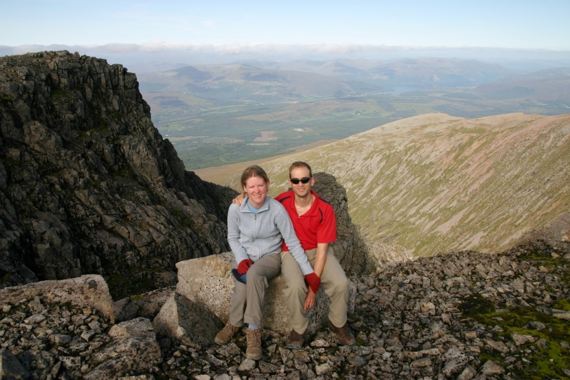 Nick And Slightly Terrified Debbie On Edge Of Ben Nevis