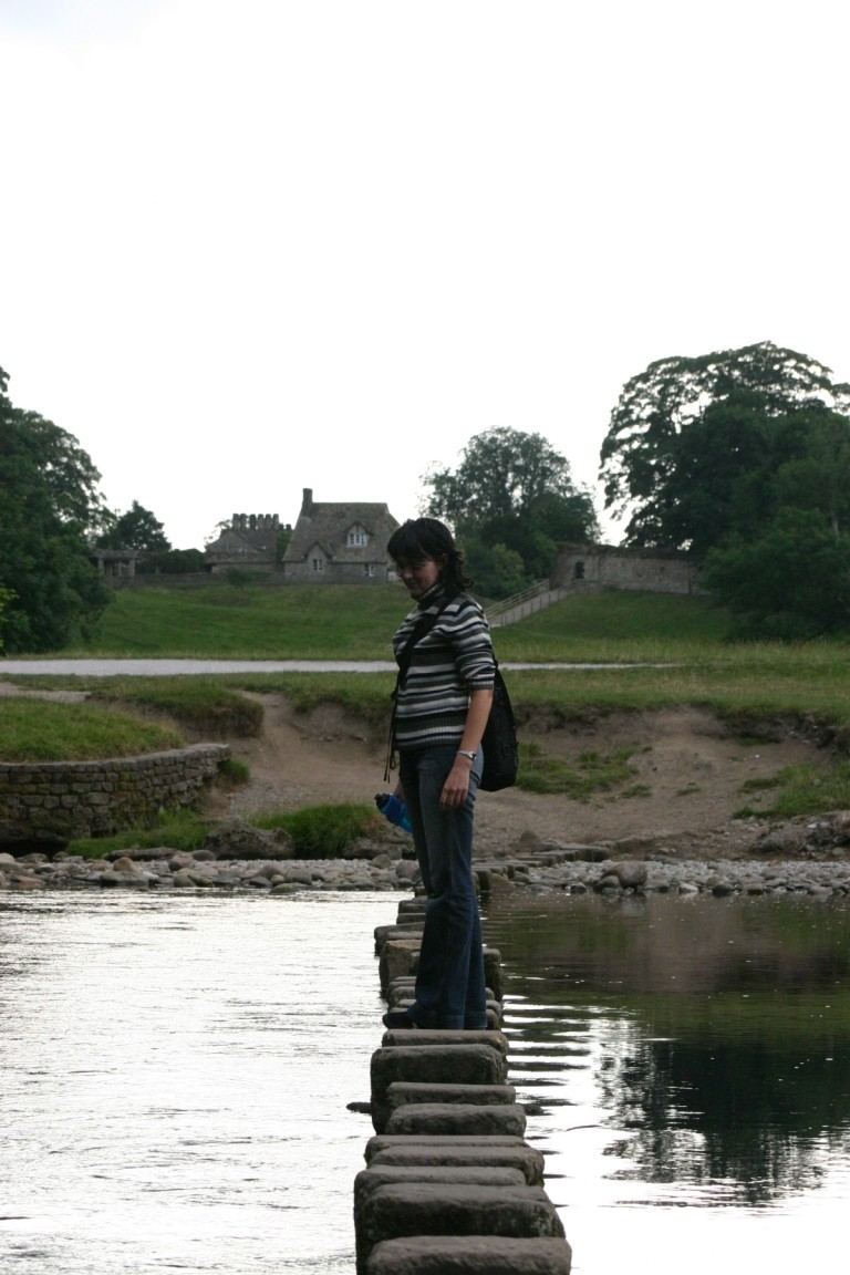Alina On Stepping Stones Over River Wharfe