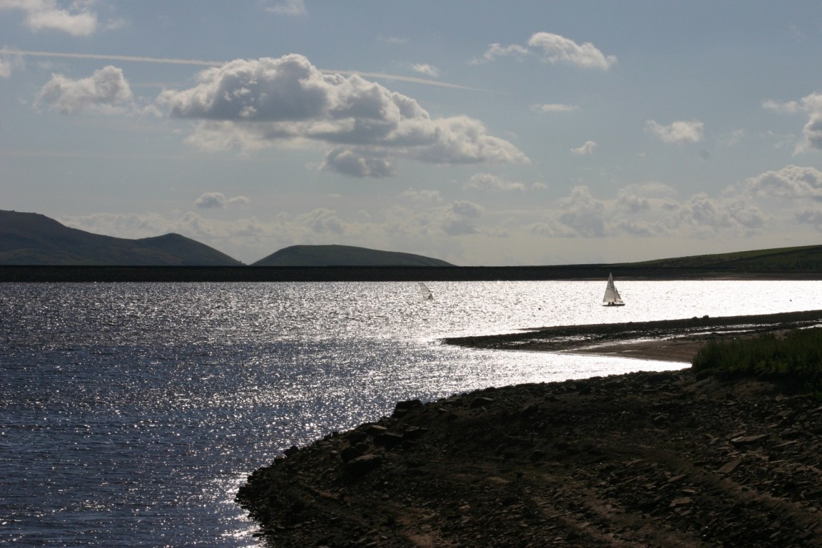 Boat And Windsurfer On Grimwith Reservoir