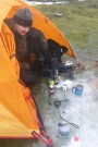 Richard And His Tent In A Big Puddle Of Thawed Snow